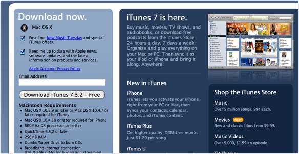 itunes 732 iTunes 7.3.2 Available