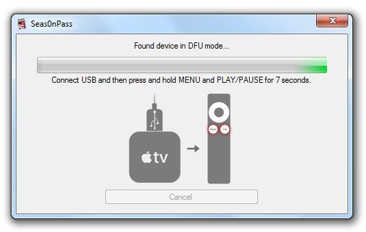 seas0npass untethered windows apple tv 2 05 How to Jailbreak Apple TV 2 on iOS 4.3 or iOS 5 Beta with Seas0nPass 0.7.7 (untethered)