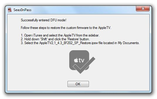 seas0npass untethered windows apple tv 2 07 How to Jailbreak Apple TV 2 on iOS 4.3 with Seas0nPass (untethered)
