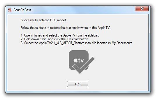 seas0npass02 How to Jailbreak Apple TV 2 on iOS 4.3 or iOS 5 Beta with Seas0nPass 0.7.7 (untethered)