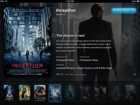 Showreel inception Watch HD Movie Trailers on Apple TV 2 
