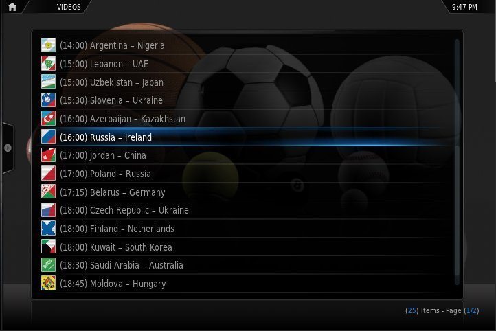 SportsDevil XBMC addon for Apple TV