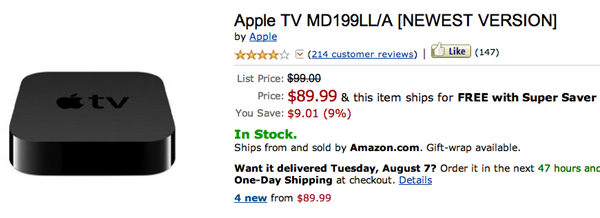 apple tv amazon price drop Hot deal: Amazon selling Apple TV 3 for $89.99 + free shipping