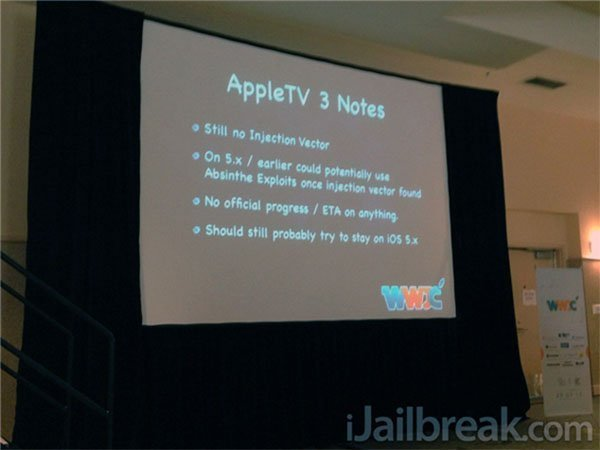 Apple TV 3 Jailbreak Con News on the Apple TV 3 jailbreak out of JailbreakCon 2012 (updated)