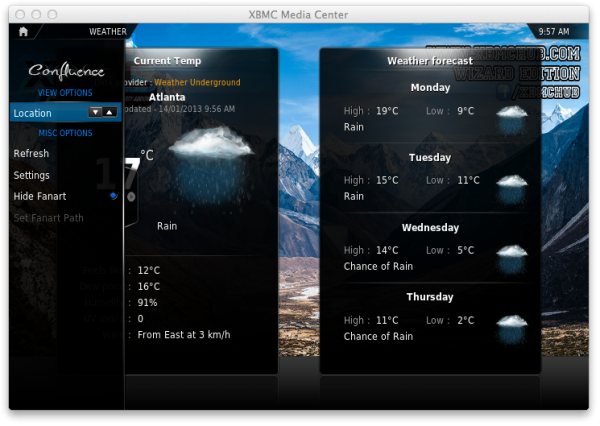 xbmc weather e1359128156598 XBMC on Apple TV: How to navigate XBMCs menus options