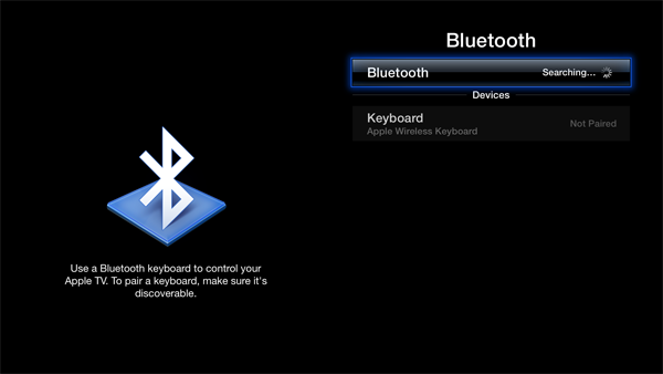 apple tv bluetooth keyboard Cómo añadir y usar un teclado Bluetooth con tu Apple TV (5.2/iOS 6.1)