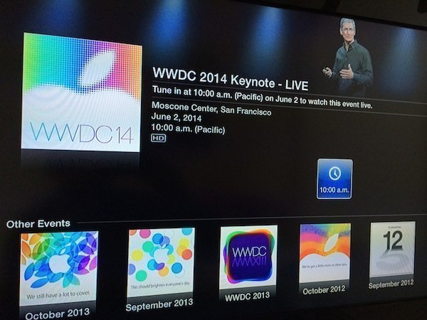 wwdc 2014 apple tv Watch WWDC 2014 keynote live on your Apple TV