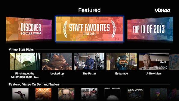AppleTV vimeo update Vimeo channel for Apple TV just got a revamp