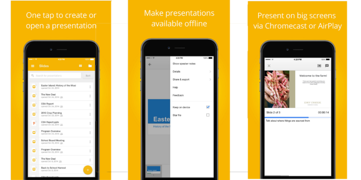 google slides ios app updated with airplay support