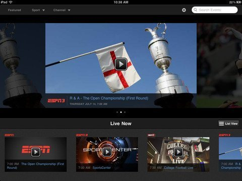 WatchESPN iPhone and iPad app with AirPlay support for Apple TV