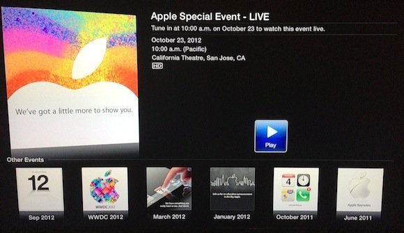iPad mini event live stream on Apple TV
